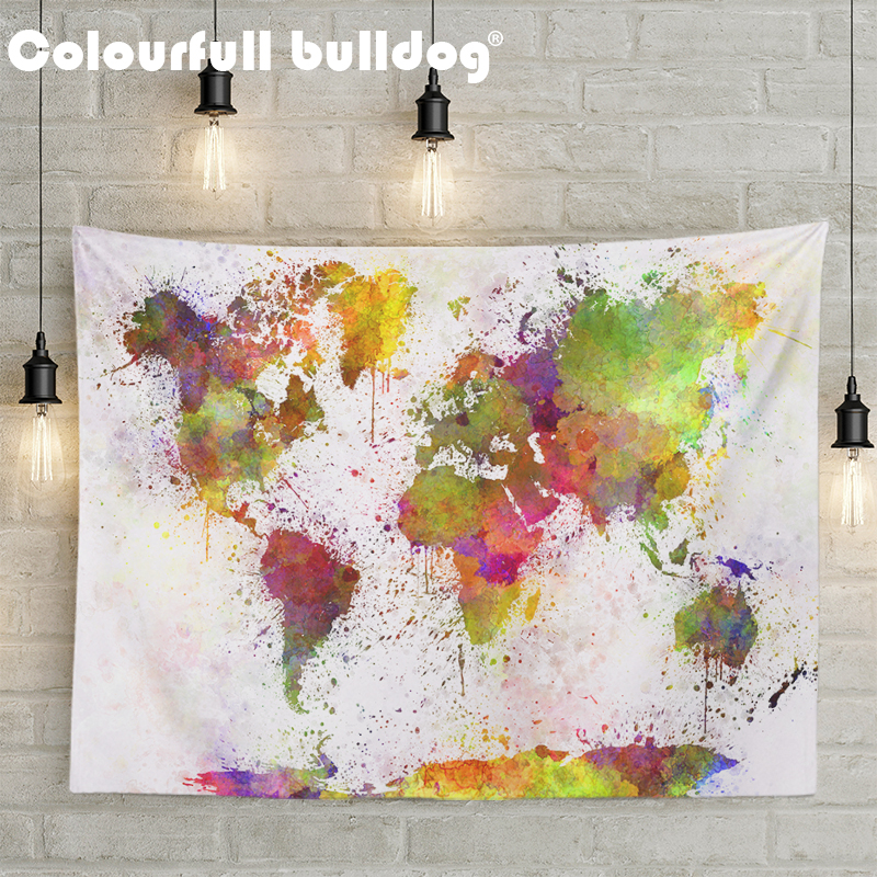 World Map Tapestries Europe Asia Wall Hanging Russia United States France Mandala Decoration Accessories Bedspreads 150Cm Woven