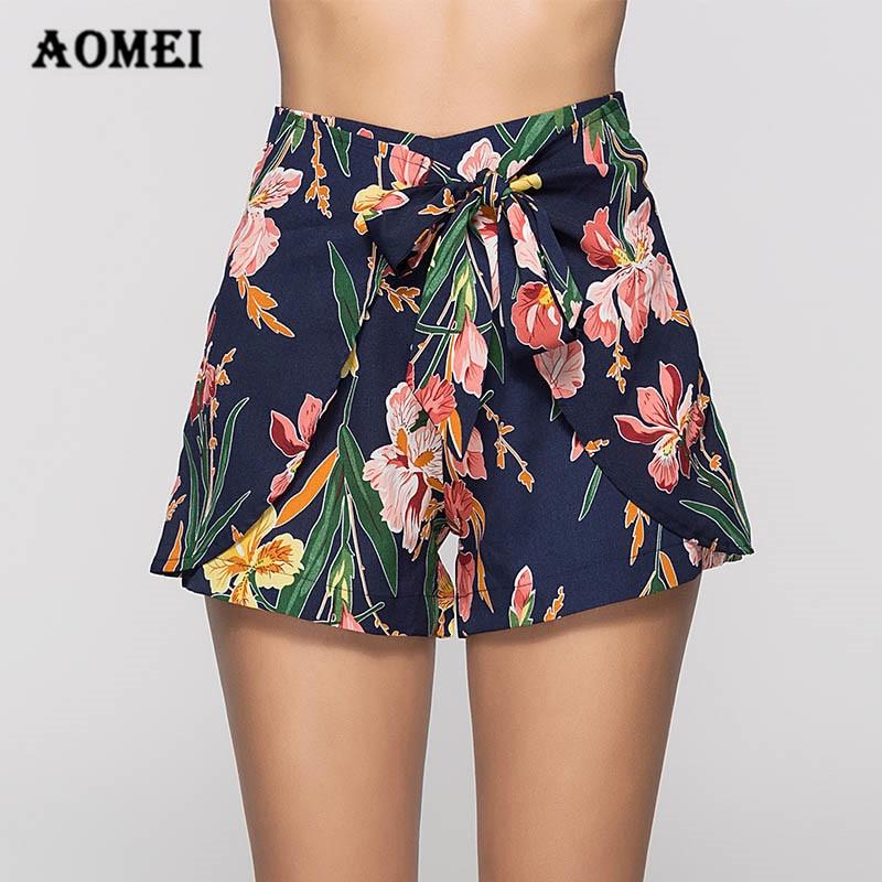 Girls Printed Shorts Summer Mini Culottes Shorts Hotpants Boho Floral Waist Belt Vacation Casual Girls Fashion Beachwear Skorts