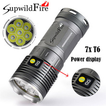 Discount! High Quality  Supwildfire  16000LM 7 x XM-L T6 LED Power & Mode Digital Display Hunting Flashlight