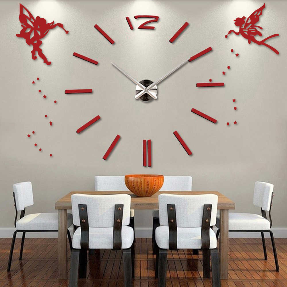 3D DIY Large Wall Clock Modern Design Angel Decorative Oversize Kitchen Clock Acrylic Mirror Wall Stickers Big Wall Clocks