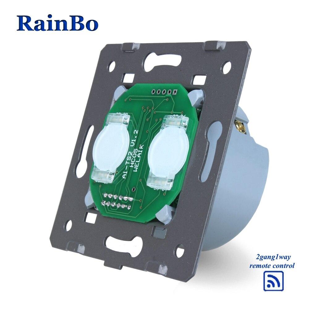 Rainbo Interruptor táctil piezas de bricolaje 2gang1way pared UE remoto pantalla táctil pared interruptores de luz 110 ~ 250 V 5A a923