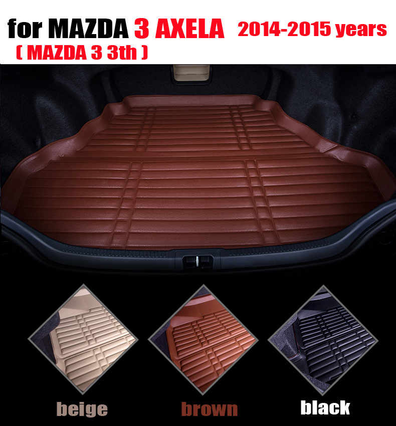 car trunk liner for MAZDA 3 AXELA Hatchback 2014-2015 cargo liner leather cargo mats all weather car mats auto accessories car rear trunk security shield cargo cover for volkswagen vw tiguan 2016 2017 2018 high qualit black beige auto accessories
