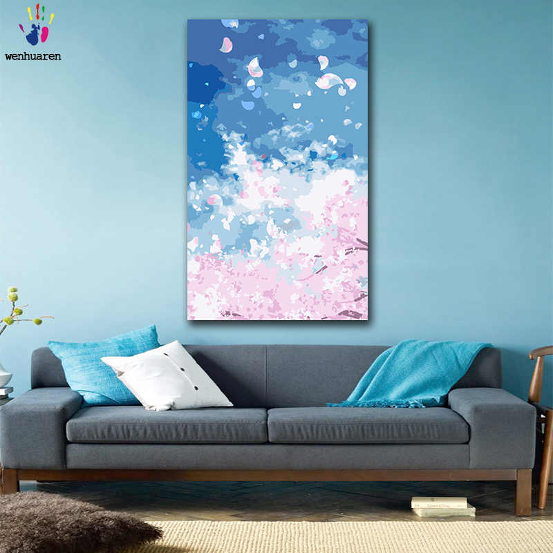 DIY colorings pictures by numbers with colors Pink cherry blossoms picture drawing painting by numbers framed Home