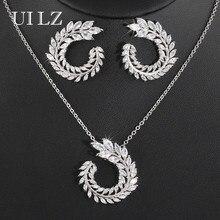 UILZ Top Zircon Olive Branch Shape Earrings Pendant Set Fashion Zirconia Crystal Jewelry Set for Women Party Wedding JMSP260