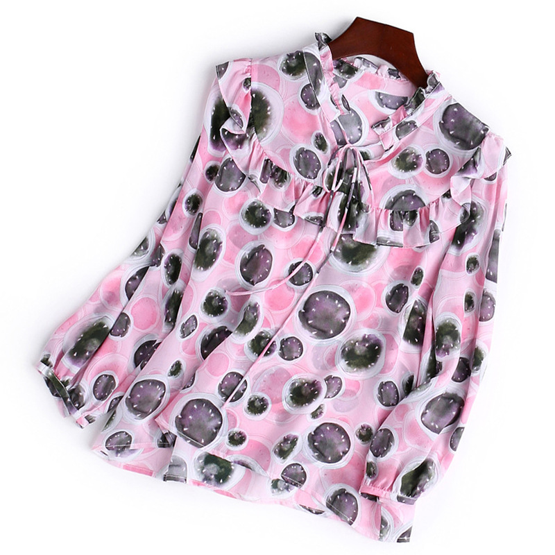 Ruffles dot women silk summer blouse new 2018 brand runway designers shirt tops