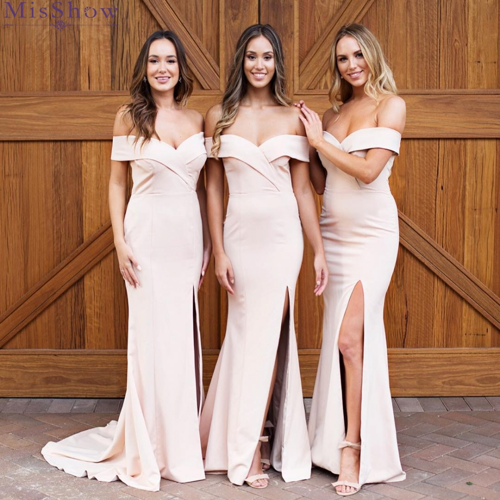 New Champagne Sexy Off Shoulder Sweatheart   Bridesmaid     Dresses   Long Mermaid High Split Satin Prom Party   Dresses   for Wedding Party