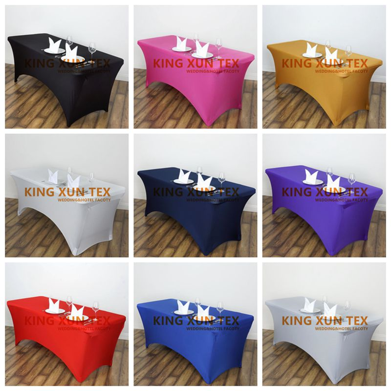 40pcs Rectangle Fitted Stretch Spandex Table Cover Tablecloth Lycra Long Bar Table Cloth For Hotel Event