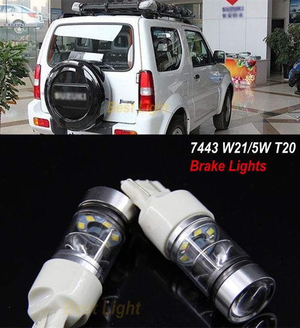 2x t20 w21/5 w 7443 chips da sharp led stop/cauda lâmpadas luzes de freio para suzuki jimny grand vitara