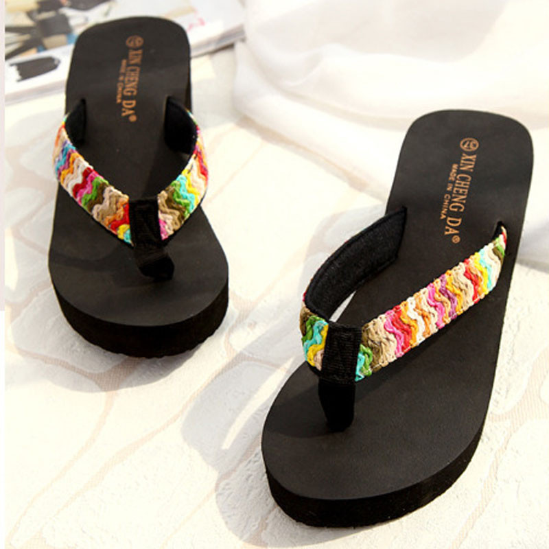 2017 Fashion women shoes Summer flip flops Platform Sandals Beach Flat Wedge Patch Flip Flops Lady Slippers pantufa zapatillas covoyyar 2018 fringe women sandals vintage tassel lady flip flops summer back zip flat women shoes plus size 40 wss765