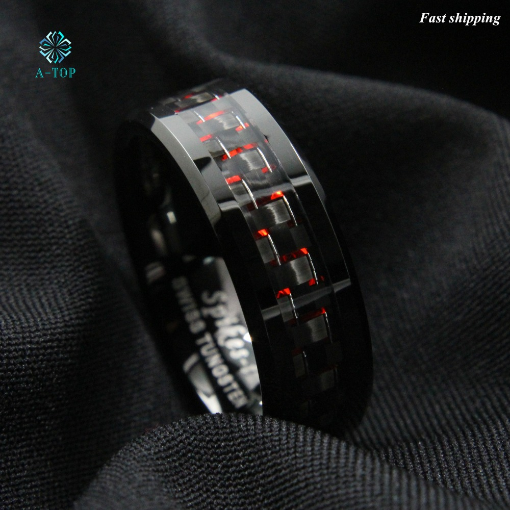 Men s Tungsten Ring with Carbon Fiber 8mm Black and red men s Wedding Band Free