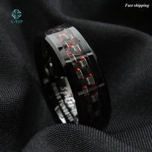 Мужская вольфрама кольцо с углеродного волокна 8 мм черный и красный Мужская обручальное Бесплатная доставка