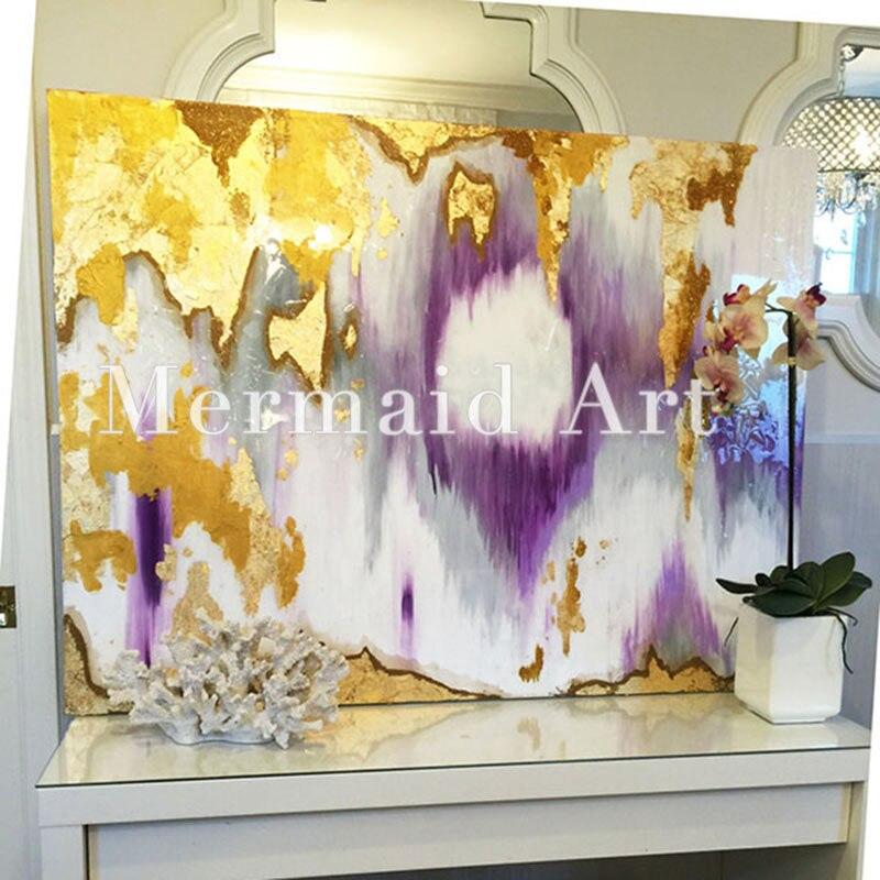Handgemalte Moderne Abstrakte Paitning Rost Wandkunst Gold, Lila, Grau,  Weiß, Sil Öl