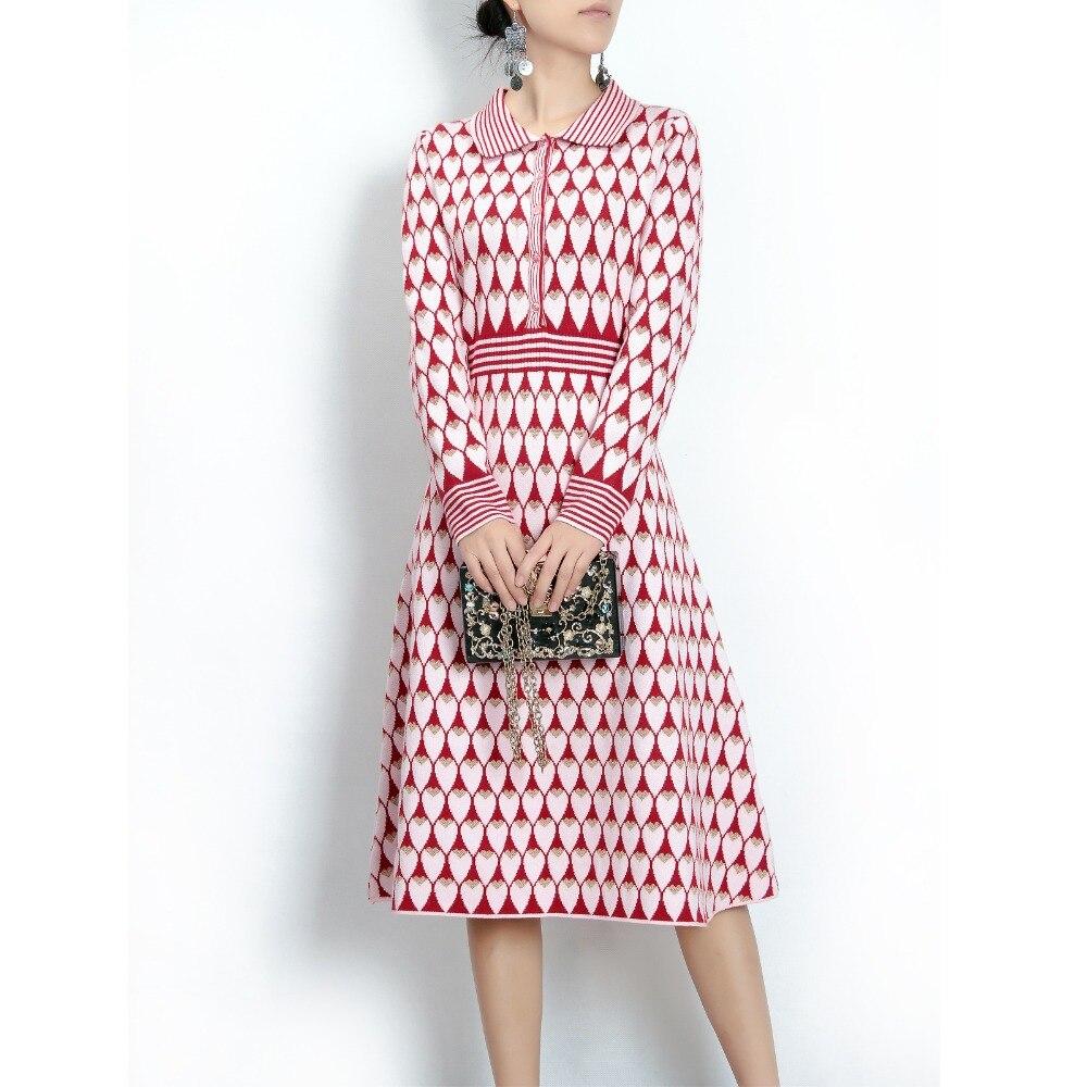 2017 women Wool sweater midi Dress elegant turn-down collar long sleeve knitted dress warm female pink heart Pattern tunic dress stripes ghost pattern tunic shirt sweater dress