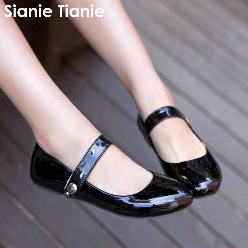 Sianie Tianie patent pu leather solid color casual flats round toe lolita woman shoes buckle strap women mary janes size 33-49 lin king mary janes women flats shoes sweet patent leather princess shoes student lolita shoes round toe cosplay party shoes