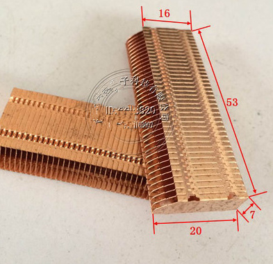 53*20*7mm Copper Heat Dissipation Fin Thermal Conductivity Brass Fin Radiator Pipe Copper Heatsink Heat Dissipation Copper fins for pc rt ac68u router cooling transformation radiator custom thermal conductivity copper tube fin radiator fan heat dissipation