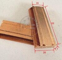 Aletas de cobre da dissipação de calor do dissipador de calor da tubulação do radiador da aleta da condutibilidade térmica de bronze da aleta da dissipação de calor do cobre 53*20*7mm