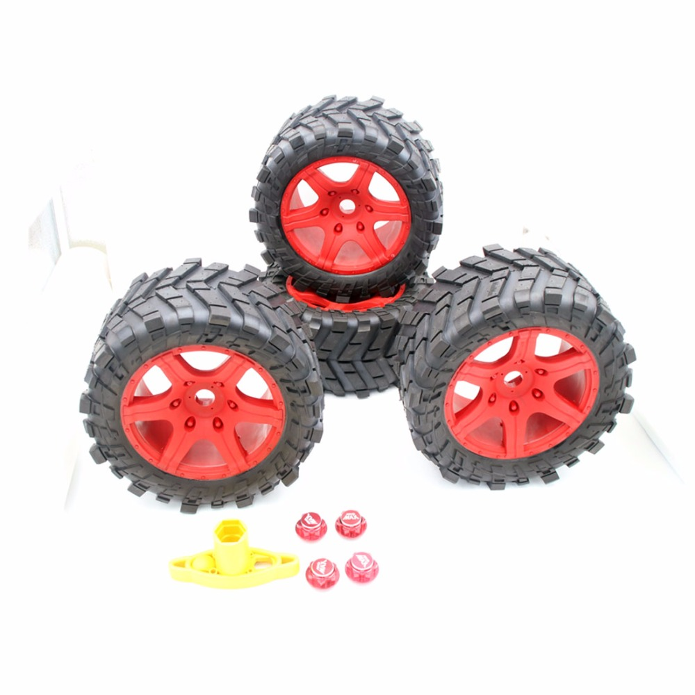 Wheel tires with wheel nuts Red(4PCS) for 1/5 Traxxas x maxx 220MM*105MM 4pcs 1 9 rubber tires