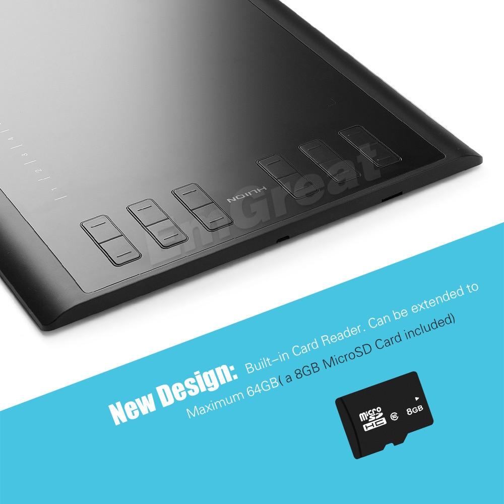 Version Pro améliorée Huion 1060 Plus tablette numérique de dessin graphique + lecteur de carte 8G carte SD 5080 LPI 12 clés Express + sac + gant - 5