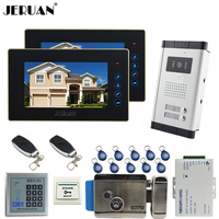 JERUAN 7 LCD Video Door Phone 2 Touch Key Monitor 1 HD Camera Apartment 1V2 Doorbell