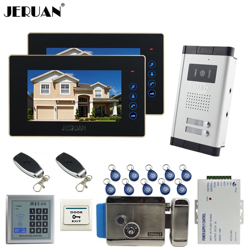 JERUAN 7`` LCD video door phone 2 Touch key Monitor 1 HD Camera Apartment 1V2 Doorbell+RFID Access Control FREE SHIPPING jeruan apartment 4 3 video door phone intercom system kit 2 monitor hd camera rfid entry access control 2 remote control
