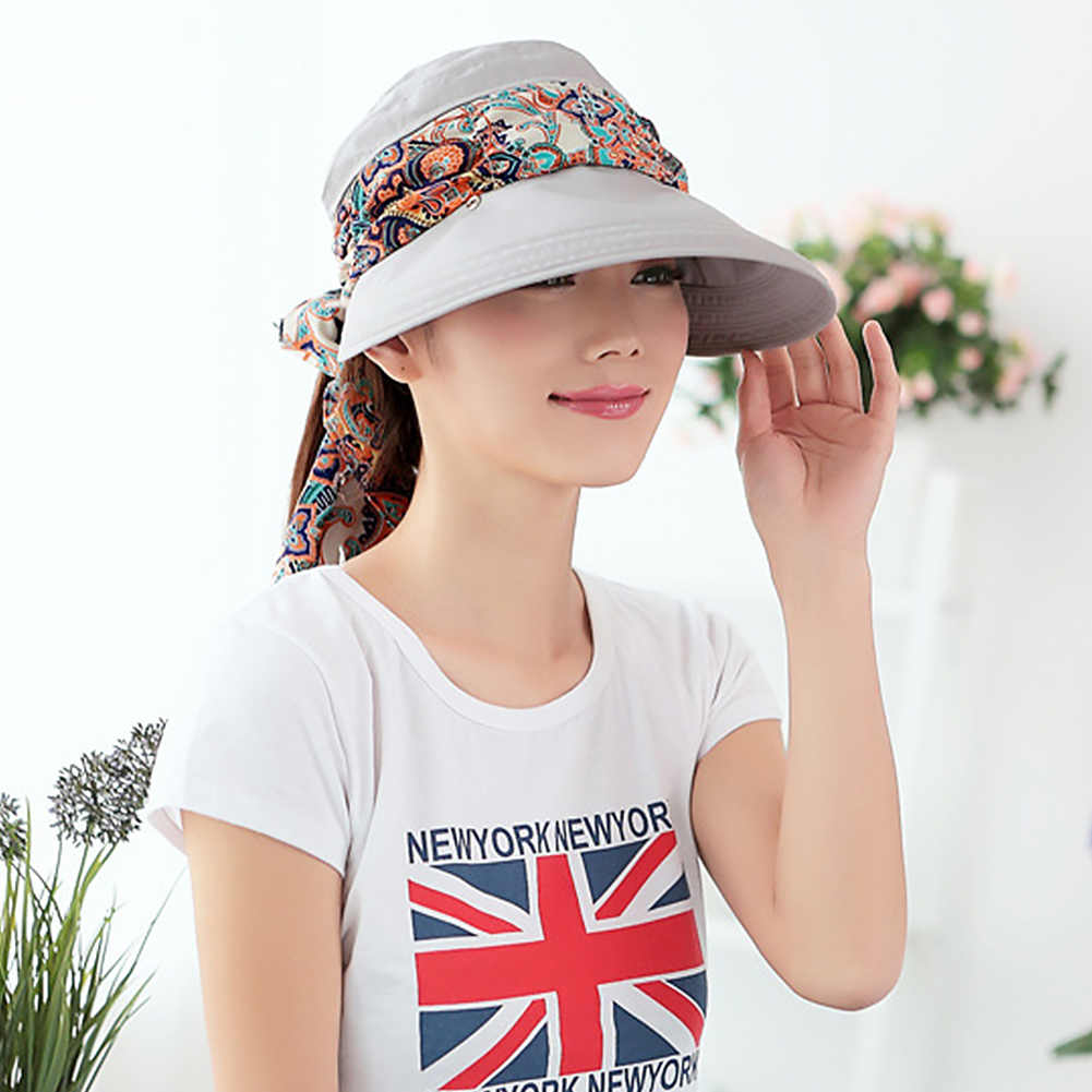 aa736a98ee0 Women Summer Anti-UV Sun Hat cover Beach Foldable Sunscreen Floral Print  Caps Fashion Neck