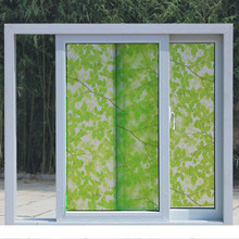 60X1000CM Window paper stickers frosted stickers bathroom light opaque bathroom cellophane window film green leaf self-adhesive