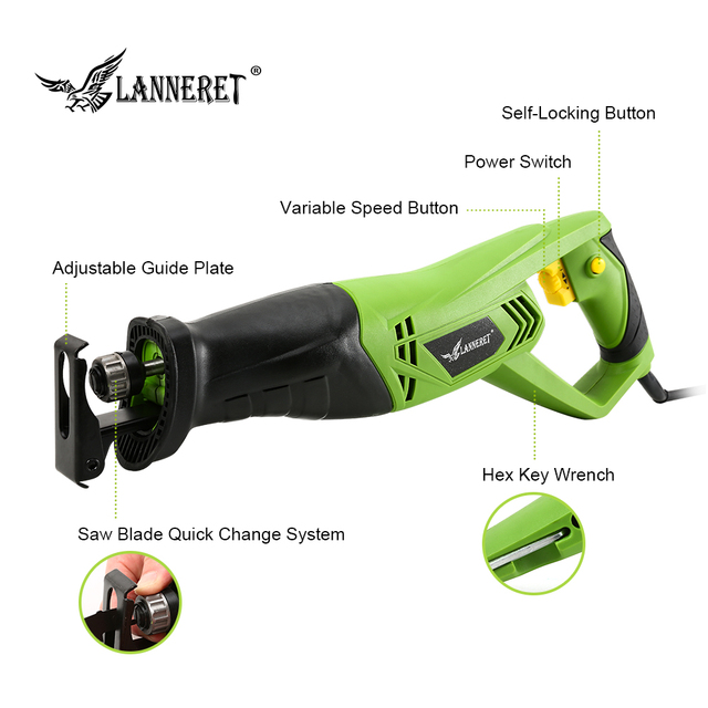 LANNERET 900W Electric Reciprocating Saw Woodworking Metal Cutting Saber Hand Saw Variable Speed Multi-function Power Tools 2