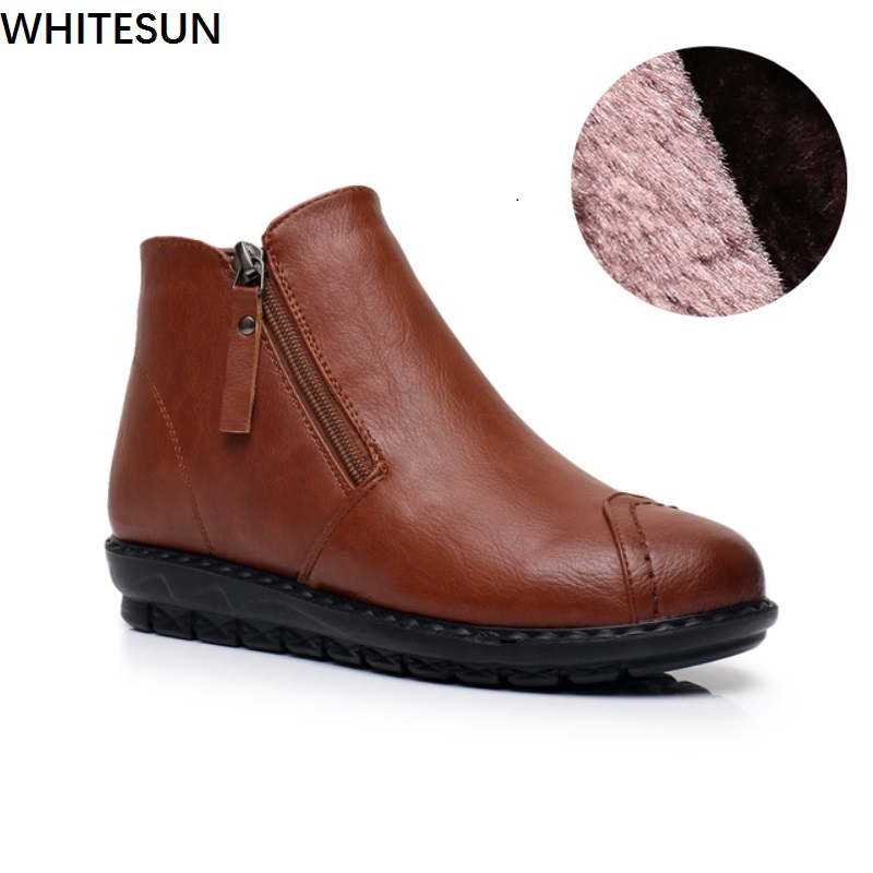 WHITESUN women winter snow boots female ankle boots fashion zipper design antiskid soles warm Cotton shoes wedge heel