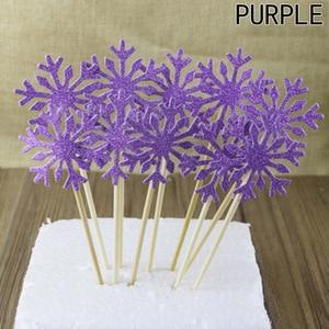 Image 4 - 10 stuk/zak Sneeuwvlok Cupcake Toppers Baby Meisje Bevroren Verjaardagsfeestje Decoraties Kids Kerst Taart Benodigdheden Accessoires