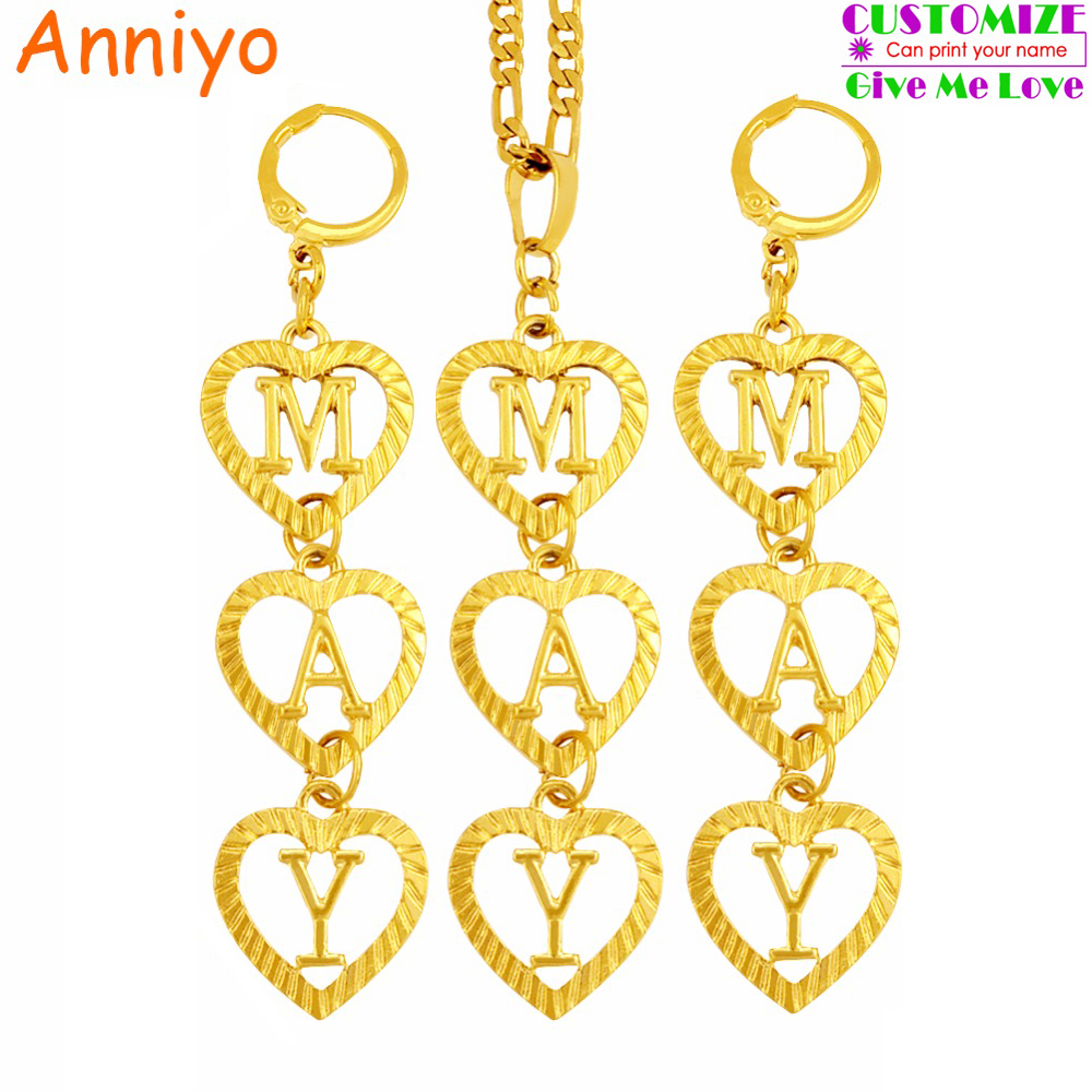 Anniyo Custom Name Letter Initial Name Necklace and Earrings for Women (Hanging 3 letters,Tell me what name do you want) #104506 beurself oversized capital initial necklace custom name large 26 letters alphabet punk style gold color alloy jewelry for women