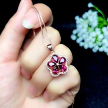 SHILOVEM 925 sterling silver real Natural magnalium garnet pendants fine Jewelry women wedding wholesale  4*6mm bz0406088agsm garnet ring free shipping natural real red garnet 925 sterling silver fine jewelry gem 6mm