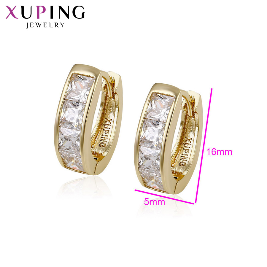 11.11 Deals Xuping Fashion Earrings Light Yellow Gold Color Plated Synthetic CZ Jewelry for Women Christmas Day Gift S38-29068