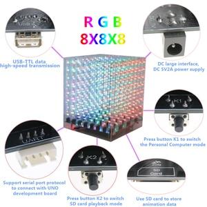 Image 5 - Điện Tử Diy Bộ 2018 Mới 3D 8 8X8X8 RGB/Đèn Led Nhiều Màu Sắc Cubeeds Bộ Cực Tốt hình Ảnh Động Quà Tặng Giáng Sinh Cho Thẻ SD