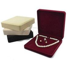 طقم مجوهرات صندوق 19x19x4 سنتيمتر قلادة القرط علبة خاتم هدية المخملية الزفاف التعبئة والتغليف لصالح حامل مجوهرات عرض صندوق تخزين