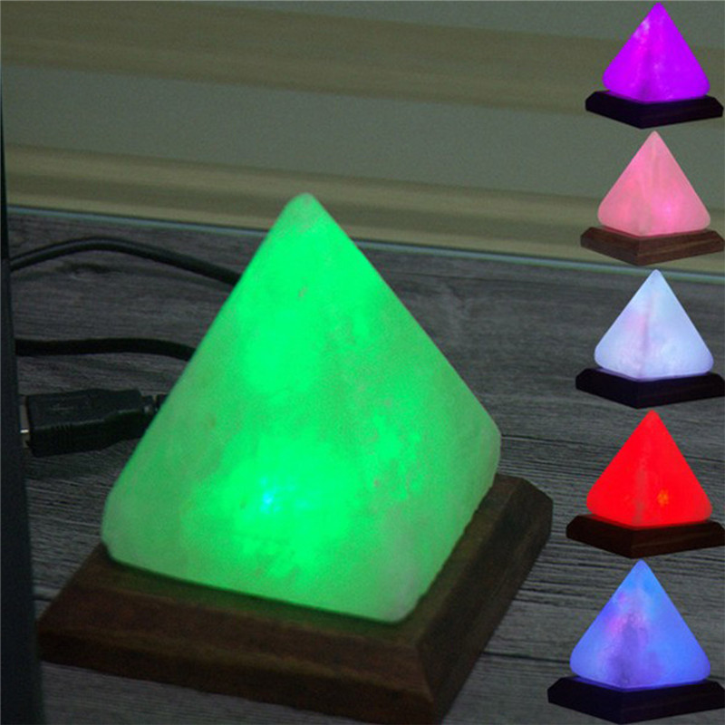 CHENGYILT 1PC Triangle Hand Carved USB Wooden Base Himalayan Crystal Rock Salt Lamp Air Purifier Night Light