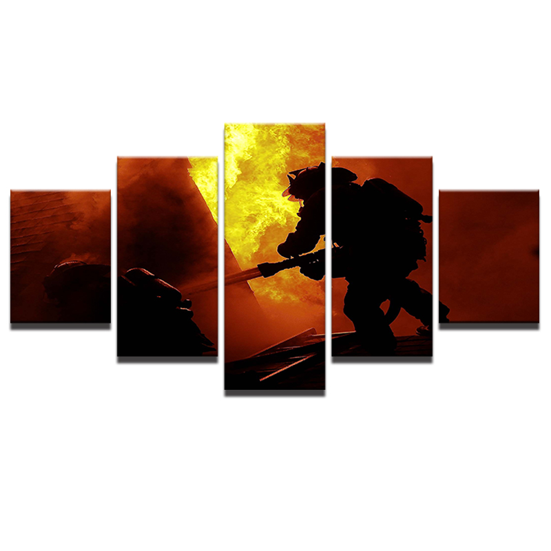 Modern HD Printed Painting Unframe Canvas Room Home Decor 5 Pieces Fireman  Firefighting Landscape Posters Wall Art Pictures  In Painting U0026 Calligraphy  From ...