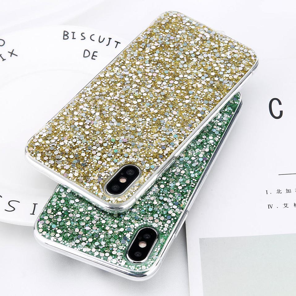 Silicon Bling Glitter Crystal Sequins Soft TPU Cover for iPhone 7 8 Plus X Case