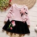 IAiRAY марка 2017 весна детей платья для девочек детские платья младенческой baby pink цветочные день рождения принцессы dress дети одежда