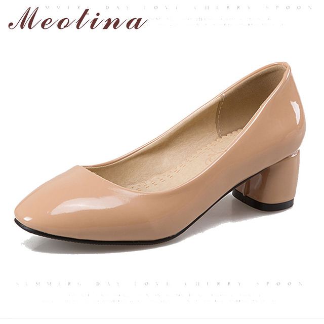 Meotina Women Shoes Pumps Mid Heels Fashion Ladies Shoes Round Toe Patent Leather Office Heels Thick Heels Red Large Size 9 10