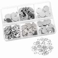 120 peças de aço inoxidável carimbo em branco tag pingentes e 100 peças abertura saltar anéis para pulseira brinco pingente encantos
