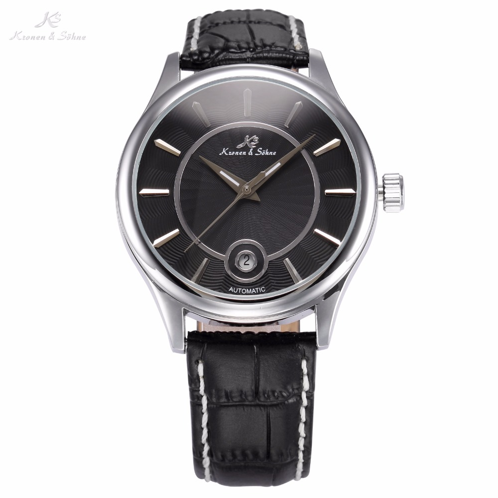 KS Luxury Brand Calendar Auto Date Display Relogio Black Dial Leather Strap Automatic Self Wind Clock Men Mechanical Watch/KS261 ks luxury automatic self wind date day 24 hours black 3 dial steel strap mechanical wrist watches mens gents timepieces ks307