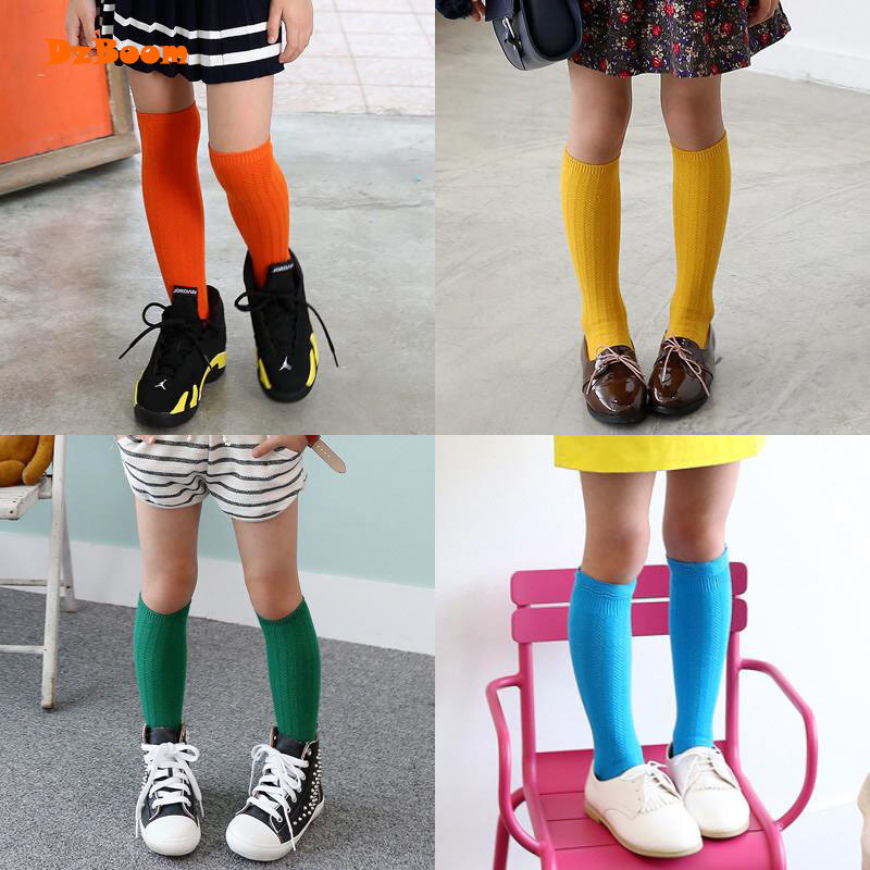 1 Pair Girls Boys Child Lovely Knee High Socks Spring Autumn Popular Cotton Solid Color Casual Comfortable Winter Kids Long Sock