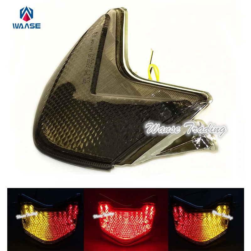 waase E-Mark Rear Tail Brake Turn Signals Integrated Led Light Smoke For 2005 2006 KAWASAKI Ninja ZX 636 6R 6RR ZX6R ZX6RR Z750S for kawasaki ninja zx6r 636 zx6rr zx 6r 2005 2006 cnc motorcycle accessories brake clutch levers adjustable folding extendable