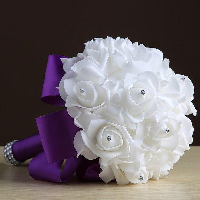 Не 'ы Свадебный Свадебный Букет 2017 Искусственный Кристалл Невесты Foamflower Атласная Цветы Брошь Свадебные Букеты
