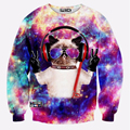 Личность Смешно Красочные Galaxy Cat 3D Печать Мужчины Мужской Толстовка Моды Костюм Мужской Спортивной Случайный Пуловер