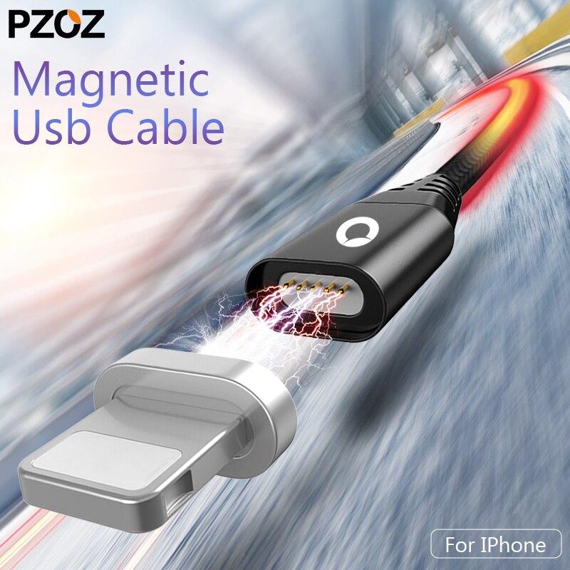 Магнитный кабель PZOZ для iphone 8, 7, 6, быстрое зарядное устройство, зарядный кабель, магнитный кабель для iphone x 10, разъем для телефона, шнур, магнит...