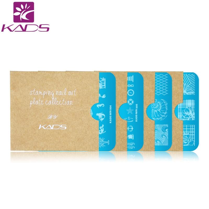 KADS 4pcs set Dreamy Oecan Mermaid Nail Stamping Plates Set Flower Nail Art Design Tools Bundle