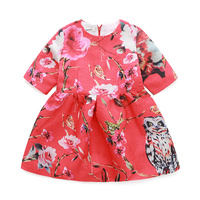 Qz586Newest Design Girls Dress Flower Frocks Children Clothes Hot Dresses Baby Dresses Short Sleeve Baby Girl