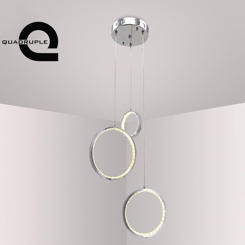Quadruple LED Circle Ring Crystal Pendant Light Three-headed Round Ring Hanging Lamp Bar Dinning Room Living Room Lighting Decor цена