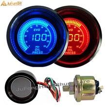 52 мм Автомобильный манометр давления масла Psi DC 12 В Авто Синий Красный светодиодный светильник оттенок объектива измерительные приборы Цифровой топливный пресс метр Манометр с датчиком